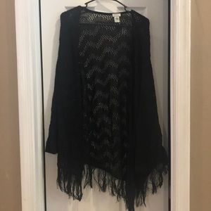 Avenue open knit cami with fringe